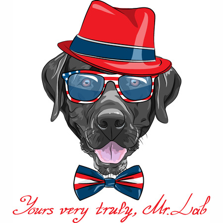 Vector smiling black hipster dog breed Labrador Retriever in a red hat, glasses and bow tie