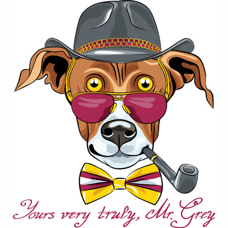 Vector hipster Greyhound Dog in a hat, glasses and bow tie with tobacco pipe Illustration