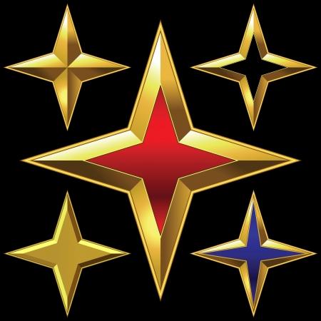 4 star: shiny gold four-point star bulk shining