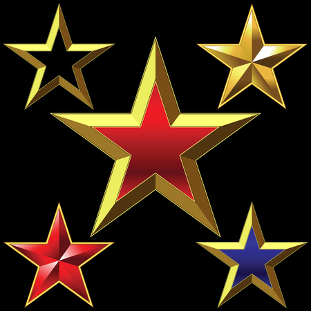 shiny gold five-pointed star bulk shining Vector