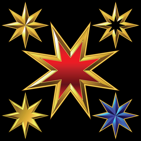 pointed: shiny gold eight-pointed star bulk shining Illustration