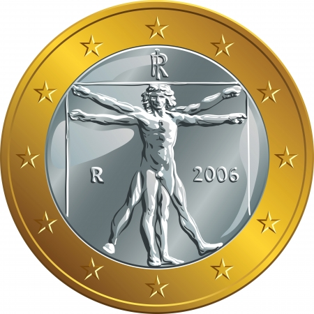 Italian money gold coin euro with the image of Vitruvian Man by Leonardo da Vinci Stock Vector - 24201250