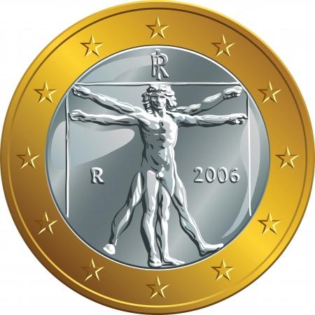 uomo vitruviano: Italiana euro di denaro moneta d'oro con l'immagine dell'Uomo Vitruviano di Leonardo da Vinci Vettoriali
