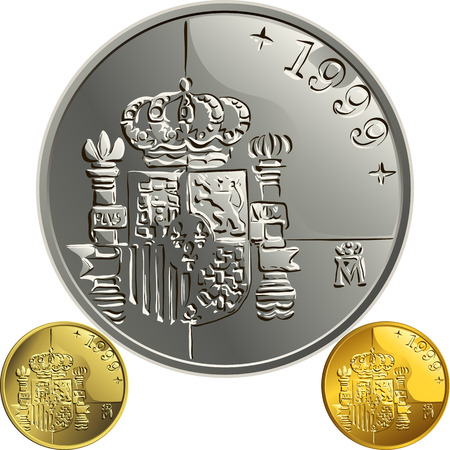 silver coins: Spanish money peseta gold and silver coin with the Spanish coat of arms