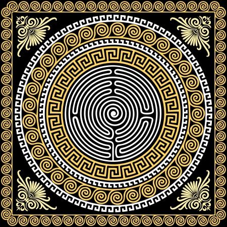 ベクトル黒の背景の伝統的なヴィンテージ黄金正方形とラウンド ギリシャ飾り蛇行と花柄の設定