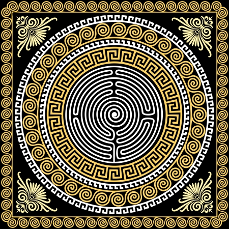 maze: vector set Traditional vintage golden square and round Greek ornament  Meander  and floral pattern on a black background