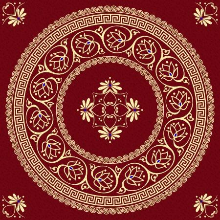 meander: vector set Traditional vintage golden round Greek ornament  Meander  and floral pattern on a red background