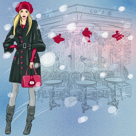 vector Christmas winter sketch of the beautiful fashionable girl near the Parisian cafe with Christmas decorations Vector
