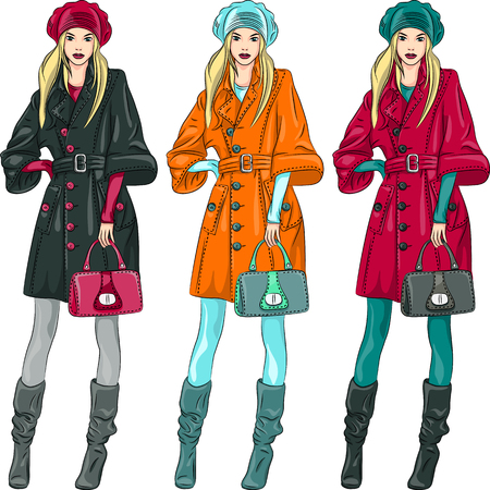 top model: vector set beautiful fashion girls top model in a beret, coat and boots in three color combinations Illustration