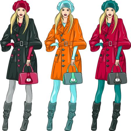 top model: vector set mooie mode meisjes topmodel in een baret, jas en laarzen in drie kleurcombinaties Stock Illustratie