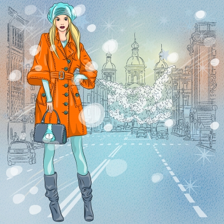 petersburg: vector Christmas winter Urban landscape, beautiful fashionable girl on the wide avenue with views of the church in St  Petersburg, Russia