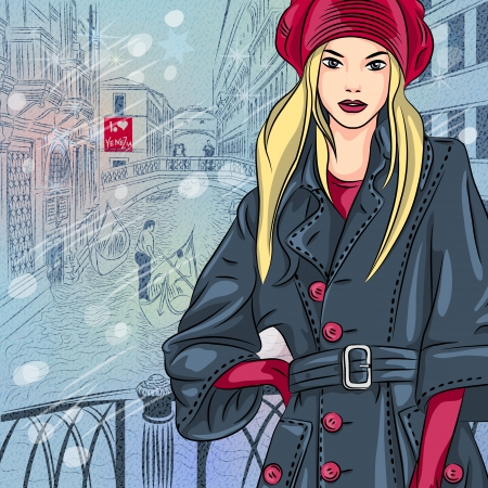 vector winter Christmas color sketch with beautiful fashion girl on the Bridge of Sighs in Venice Vector