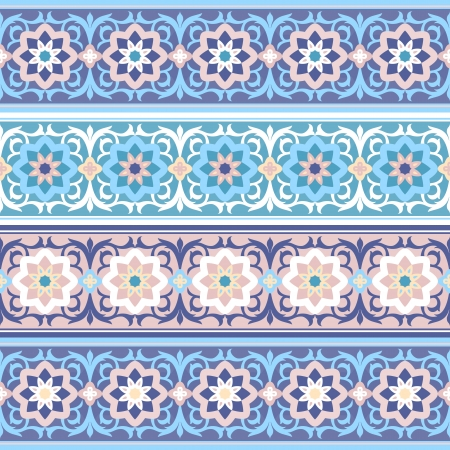 vector set of the Traditional Muslim vintage floral seamless ornament   islimi or arabesque  Vector
