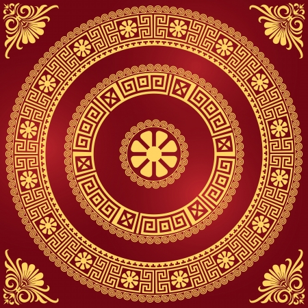 greek: vector set Traditional vintage golden square and round Greek ornament  Meander  and floral pattern on a red background