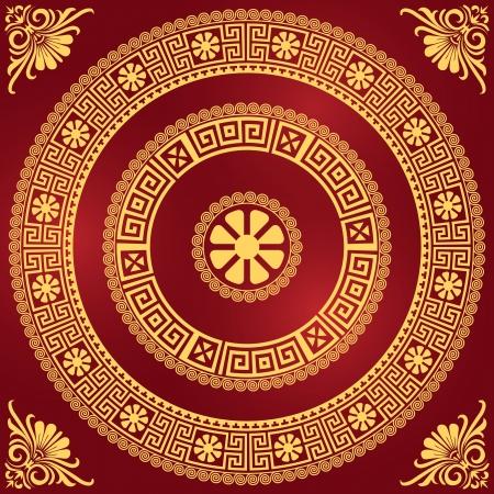 vector set Traditionele vintage golden vierkante en ronde Griekse ornament Meander en bloemen patroon op een rode achtergrond