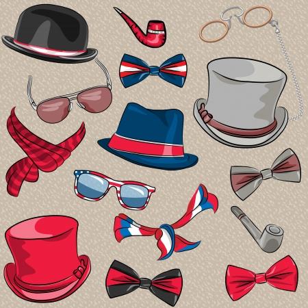sciarpe: cappelli insieme vettoriale vita bassa, sciarpe, papillon, pipe, occhiali, occhiali da vista