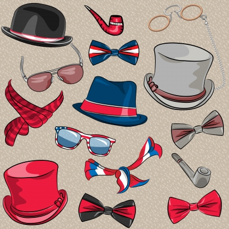 scarves: vector set hipster hats, scarves, bow tie, tobacco pipes, glasses, eyeglasses