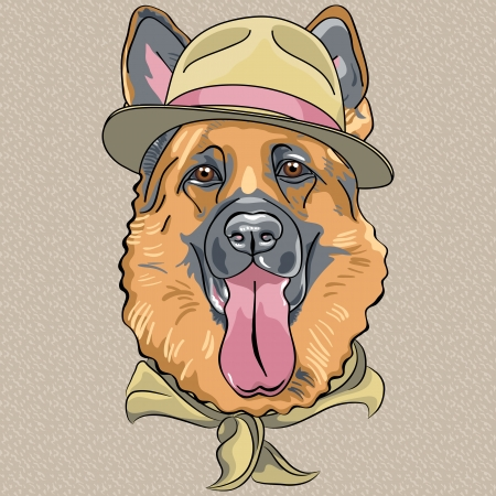 vector hipster dog breed German shepherd in a green hat and neckerchief Vector
