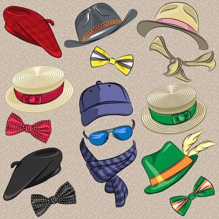 sciarpe: cappelli insieme vettoriale vita bassa, sciarpe, papillon, occhiali Vettoriali