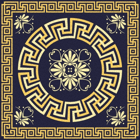 greek: vector set Traditional vintage golden square and round Greek ornament  Meander  and floral pattern on a blue background