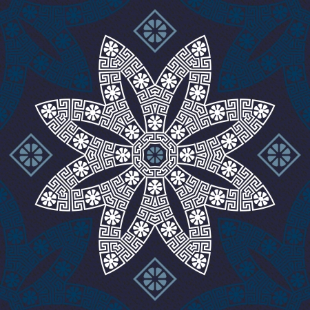 vector seamless Traditional vintage white Greek ornament  Meander  and floral pattern on a blue background Vector