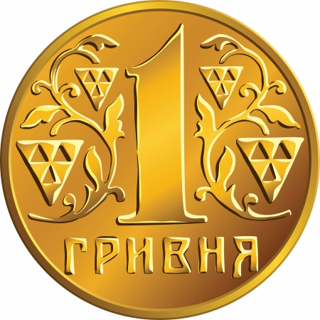 nominal: Ukrainian money gold coin one hryvnia,  nominal value in the ornament of stylized branches Illustration
