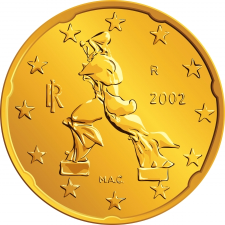 obverse: Obverse Italian money gold euro coin with the image of a person walking