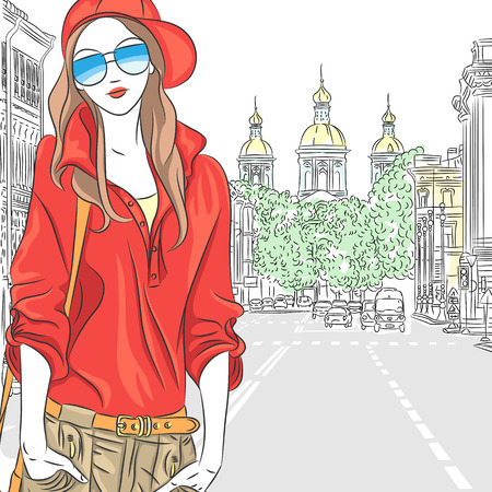 st petersburg: Vector fashionable attractive girl in red blouse, cap and glasses in the street in St  Petersburg