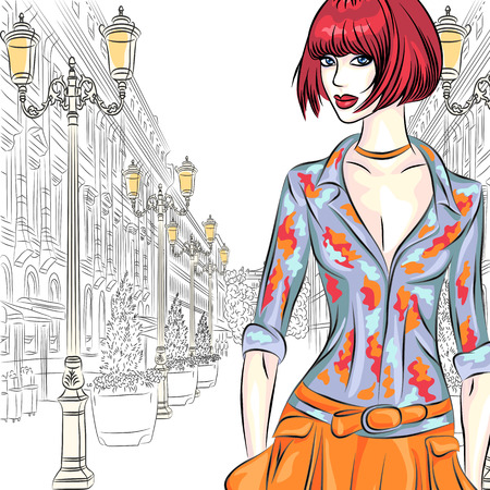 st petersburg: vector Attractive fashion girl in sketch-style on a wide street with lanterns in St  Petersburg