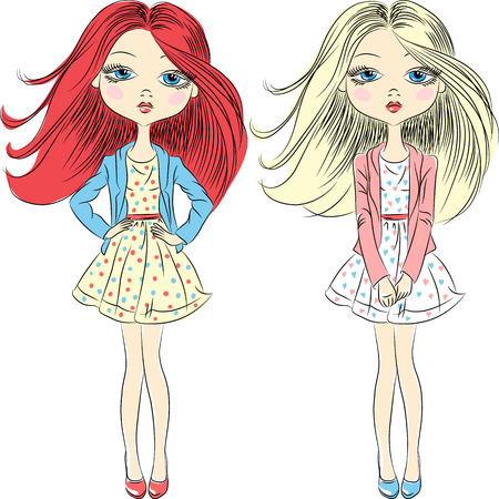 pink dress: Vector set beautiful fashion girls top model in summer dress Illustration