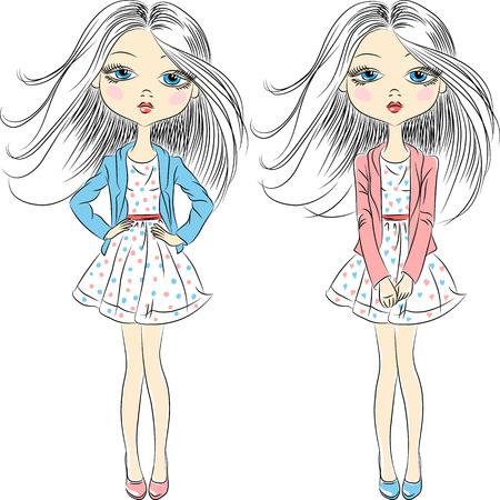young women: Vector set beautiful fashion girls top model in summer dress Illustration