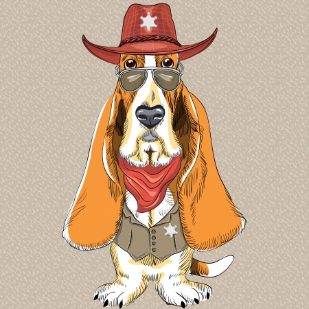 basset hound: vector hipster dog Basset Hound breed clothing sheriff in a hat, glasses, and a waistcoat with a star