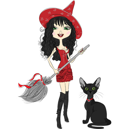 conjuring: vector cheerful beautiful girl witch in pointy red hat, red dress, black boots, with broom and black cat Illustration