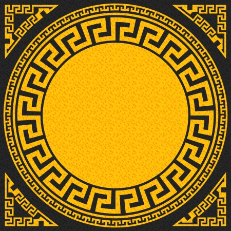 vector set Traditional vintage golden square and round Greek ornament  Meander    on a black background