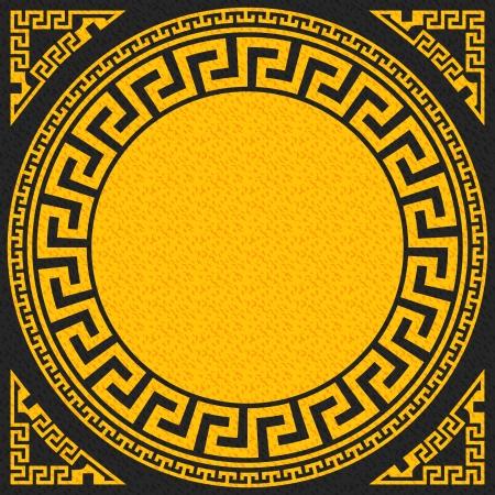 fret: vector set Traditional vintage golden square and round Greek ornament  Meander    on a black background
