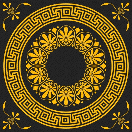motif floral: vector set Traditional vintage golden square and round Greek ornament  Meander  and floral pattern on a black background