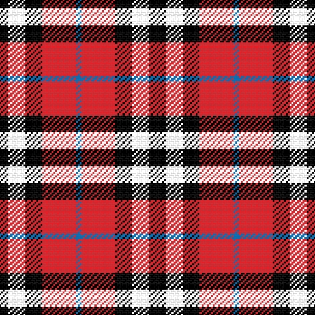 vector naadloze patroon Schotse tartan 4, zwart, wit, blauw, rood Stock Illustratie