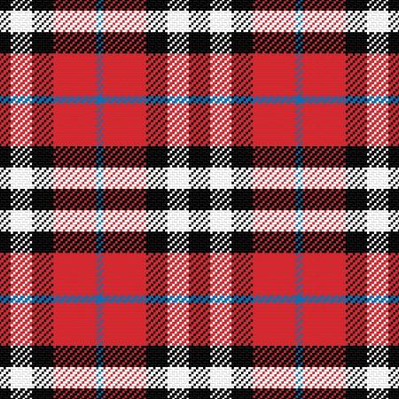 vector seamless pattern Scottish tartan 4, black, white, blue, red