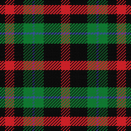 vector seamless di tartan scozzese 5, nero, rosso, blu, verde