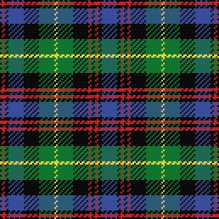 シームレス パターン スコットランドのタータン チェック ブラック腕時計、黒、赤、緑、黄色、青をベクトルします。  イラスト・ベクター素材