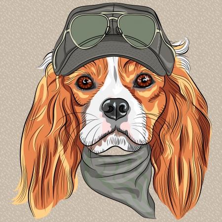 キャップとクラバット カーキ色の軍服と眼鏡ヒップスター赤犬キャバリア ・ キング ・ チャールズ ・ スパニエル種をベクトルします。