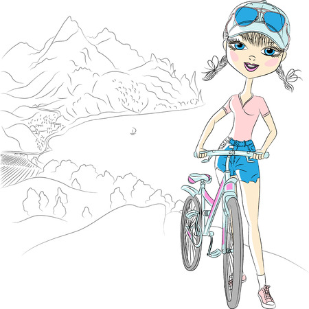 trendy hipster girl tourist with bicycle in the mountains near the sea Vector