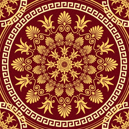 Vector seamless vintage elegant lace gold Greek ornament and floral pattern on a red  Vector
