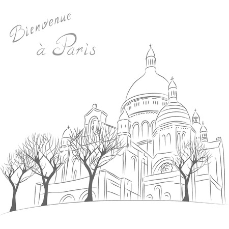 Vector sketch of urban landscape with church of Sacre Coeur in Paris  Vector