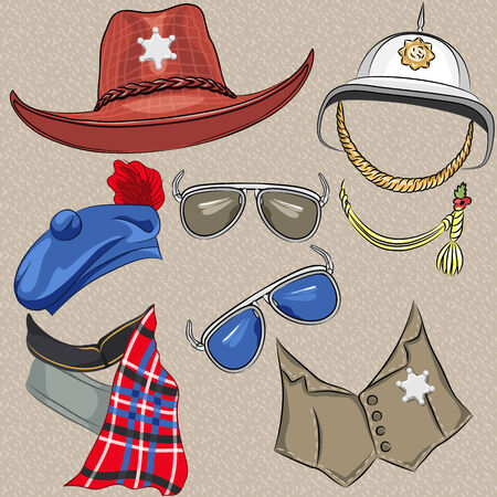 mod: Vector set of military and sheriff accessories  hat, helmet, vest, cravat, tam, scarf, glasses