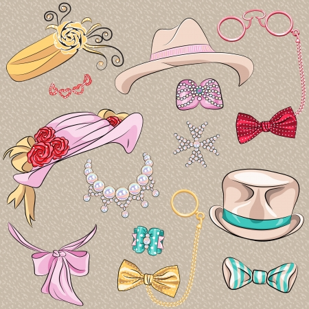 scarves: Vector set hipster millinery, scarves, bows, jewelry, glasses Illustration