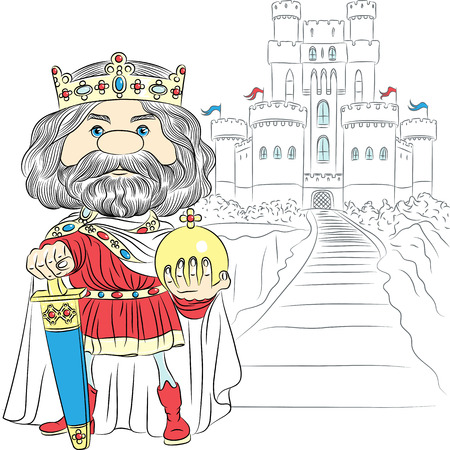 vector fairytale cartoon King Charles the First in the crown, with the sword and Globus cruciger before the medieval castle  Vector