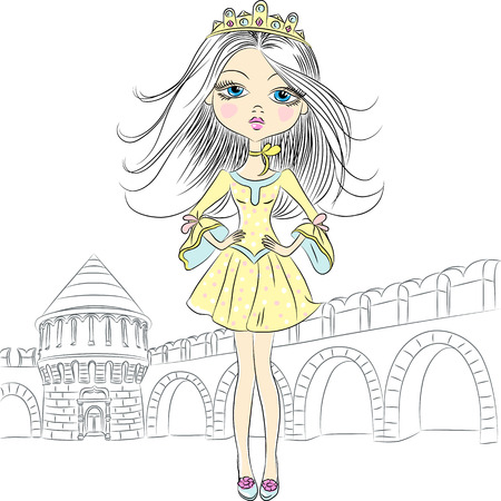 ramparts: Vector vector beautiful fashion girl top model princess in the crown of the castle and ramparts
