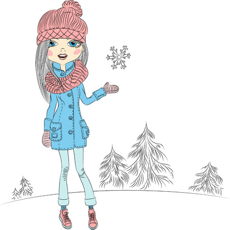 sciarpe: Vector ragazza alla moda hipster, in un cappotto, cappelli lavorati a maglia, sciarpe e guanti in inverno