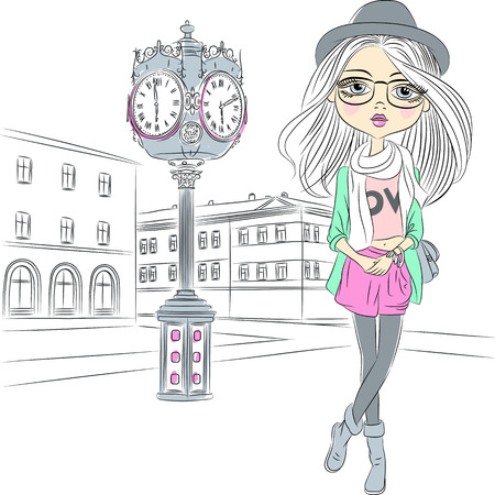 vector girl: Vector Cute hipster fashion girl near with a big clock in old town Illustration